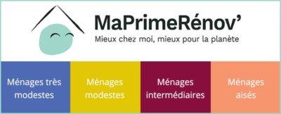MaPrimeRénov' bleu, jaune, violet, rose